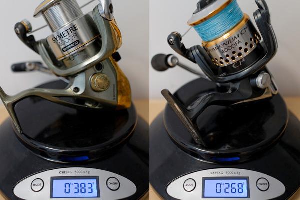 Même marque, même taille, mais près de 10 années d'écart et 120 gr de moins (tresse déduite) grâce aux nouveaux matériaux