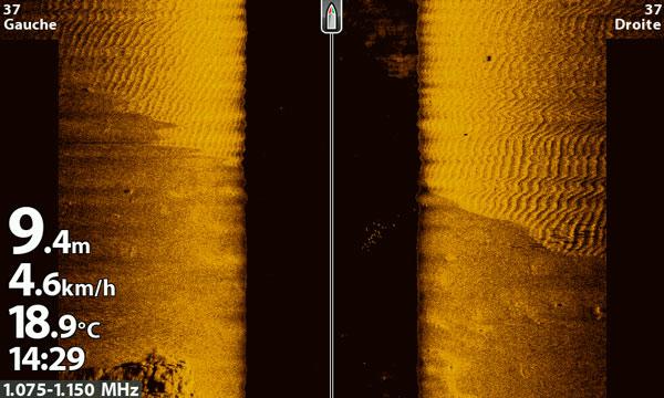 Capture d'écran d'un sondeur présentant une imagerie latérale